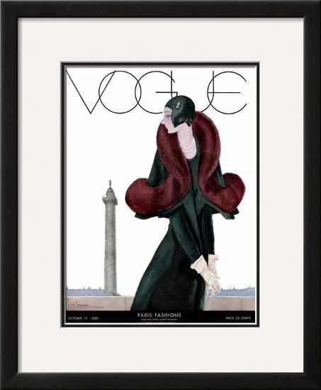 Vogue Cover - October 1929-Georges Lepape-Framed Giclee Print