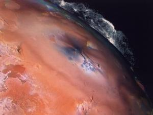 Volcanic Eruptions of Pele on Moon Io Taken by Spacecraft Voyager 2