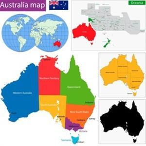 Colorful Australia Map with Regions and Main Cities by Volina
