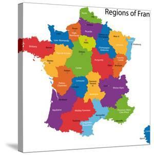 Colorful France Map With Regions And Main Cities by Volina