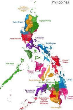 Map of Republic of the Philippines with Eighty Provinces by Volina