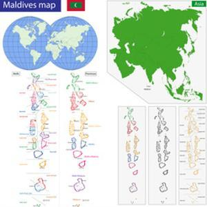 Map of the Republic of the Maldives Drawn with High Detail and Accuracy. by Volina