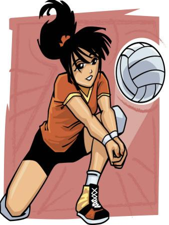 Volleyball Player Reaching for Ball