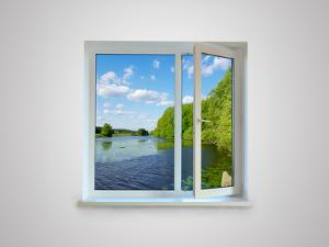 New Closed Plastic Glass Window Frame Isolated on the White Background by Volokhatiuk