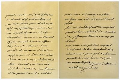 Letter from Francois Marie Arouet De Voltaire to George Keat, 16th January 1760