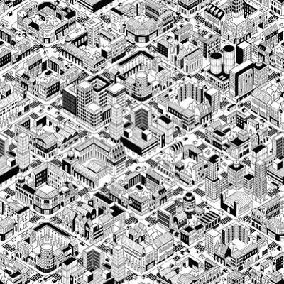 City Urban Blocks Seamless Pattern (Large) in Isometric Projection is Hand Drawing with Perimeter B by vook