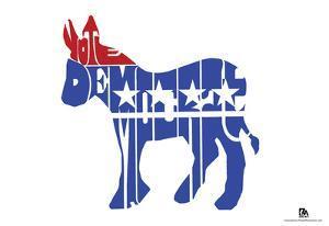 Vote Democrat Text Poster