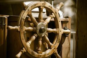 Yachting. Ship Wooden Steering Wheel. Sailboat Detail. by Voy