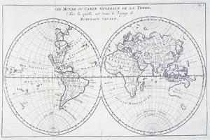 Voyage of Robinson Crusoe, from 18th Century Map of World
