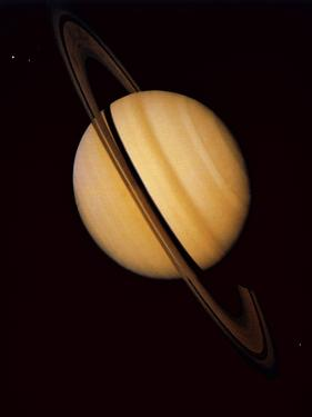 Voyager 1 Image of Saturn & Three of Its Moons
