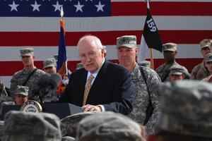 VP Dick Cheney Speaks to a Soldiers on Balad Air Base, Iraq, March 18, 2008