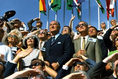 VP Spiro Agnew and Lyndon Johnson Watch Apollo 11 Moon Launch, July 16, 1969