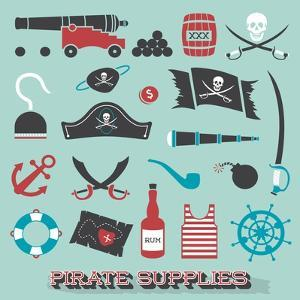 Vector Set: Pirate Supplies Silhouettes and Icons by vreddane