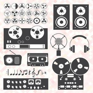 Vector Set: Retro Music Recording Equipment Objects by vreddane