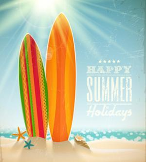 Holidays Vintage Design - Surfboards On A Beach Against A Sunny Seascape by vso