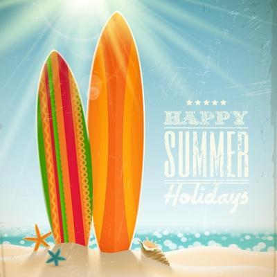 Holidays Vintage Design - Surfboards On A Beach Against A Sunny Seascape