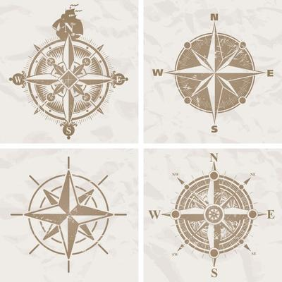Vintage Compass Roses