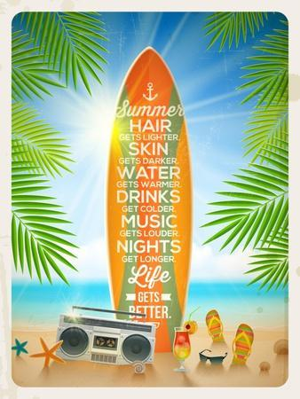 Vintage Vector Illustration - Old Surfboard with Summer Saying and Retro Cassette Recorder on the T