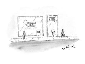 """Country Wide"" Bank has sign in it's window ""Fresh Cash"". - New Yorker Cartoon by W.B. Park"