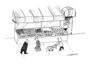 People are seen walking past a produce stand whose fruits are labeled in t… - New Yorker Cartoon by W.B. Park