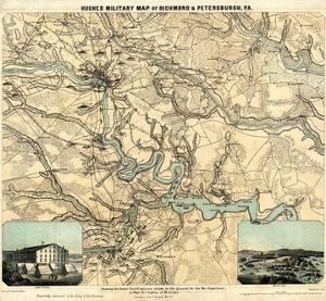 Hughes Military Map of Richmond and Petersburgh, Virginia, c.1864 by W.c. Major Hughes