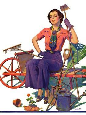 """Geranium Gardener,""May 1, 1937 by W.D. Stevens"