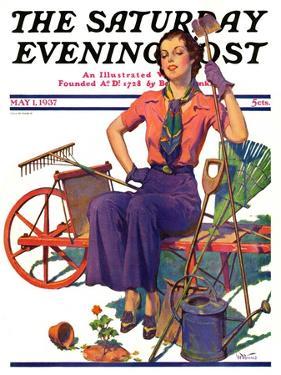 """Geranium Gardener,"" Saturday Evening Post Cover, May 1, 1937 by W.D. Stevens"