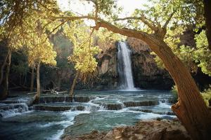 Scenic View of a Waterfall on Havasu Creek by W.E. Garrett