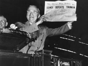 "Harry Truman Jubilantly Displaying Erroneous Chicago Daily Tribune Headline ""Dewey Defeats Truman"" by W. Eugene Smith"
