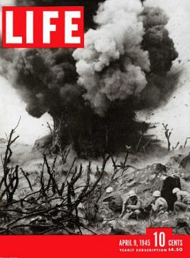 US Marines Behind Hillside Cover, Blowing up Connection to Japanese Blockhouse, WWII, April 9, 1945 by W. Eugene Smith