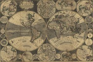 World Map with Planets by W. Godson