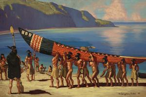 A Group of Chumash Indians Carry a Plank Canoe from the Water by W. Langdon Kihn