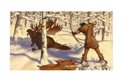 A Penobscot Indian Hunts a Moose in the Penobscot River Valley by W. Langdon Kihn
