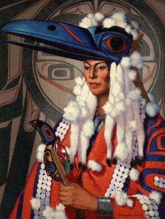 Bellacoola Woman Wears a Raven Headdress, Emblem of Her Clan by W. Langdon Kihn