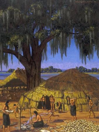 Choctaws in Louisiana Bayou Country Harvest Corn by W. Langdon Kihn