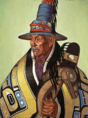 Head Chief of the Tlingit Holds Killer-Whale Staff of Office by W. Langdon Kihn