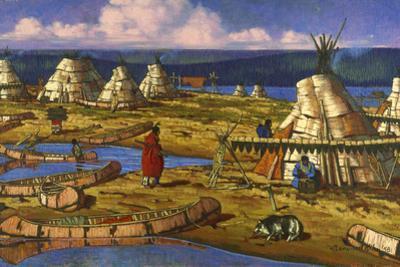 In Manitoba, Cree Indians Set Up Camp by W. Langdon Kihn