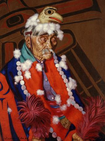 Niska Chief Wears an Eagle Headdress, Emblem of His Clan by W. Langdon Kihn