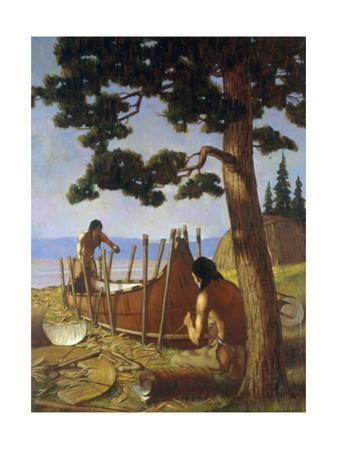 Ojibwa Indians, Commonly Called Chippewa, Fashion a Birch Bark Canoe by W. Langdon Kihn