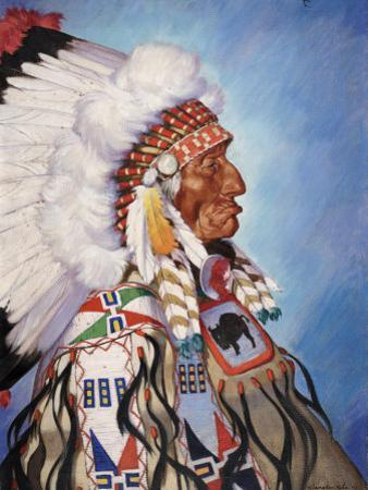 Portrait of 95-Year Old Sioux Chief One Bull by W. Langdon Kihn