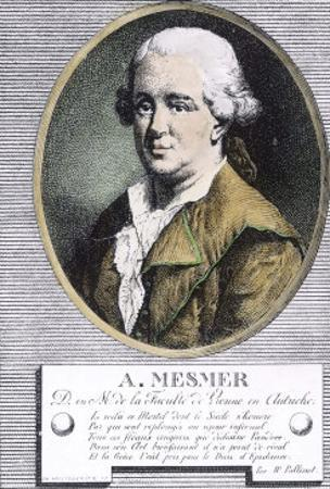 "Portrait of Franz Anton Mesmer Who Discovered ""Animal Magnetism"" or Mesmerism by W. Pallissot"