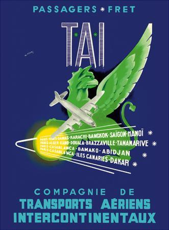 TAI Airline - Passengers Freight - Air Route Destinations between France and Africa, Asia by W. Pera
