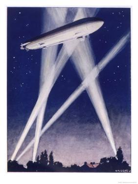Zeppelin Raider is Caught in the Searchlights Over the Countryside by W.r. Stott