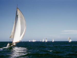 A 35-Foot Sailing Sloop is Seen from Behind by W. Robert Moore