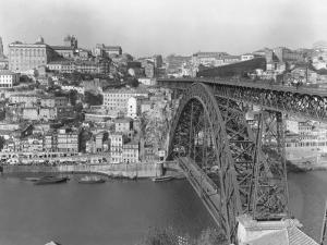 A Portion of Porto and its Large Two-Tiered Bridge Across the Douro River by W. Robert Moore