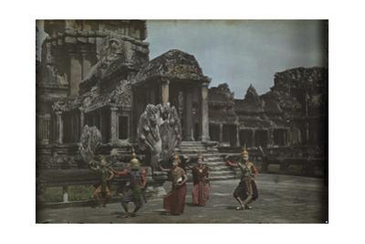 Cambodian Dancers Perform on the Terrace at Wat Angkor