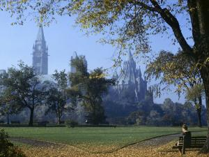 Gothic Parliament Building Towers over an Ottawa Park by W. Robert Moore