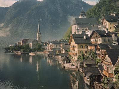 Houses Line the Lake of Hallstatt