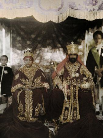 Monarchs Haile Selassie the First and Manen, Pose in their Robes
