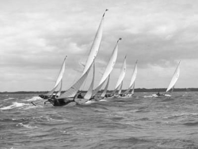 Sailboats Race Each Other off the Coast of England Near Cowes by W. Robert Moore